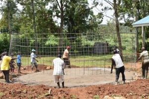 The Water Project: Mungabira Primary School -  Placing Of Wire Wall Frame