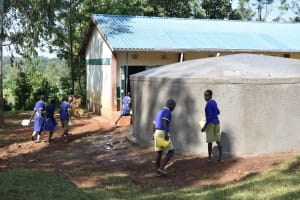 The Water Project: Mungabira Primary School -  Students Helping With Tanks Curing