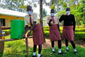 The Water Project: Epanja Secondary School -  Girls At Hand Washing Stations
