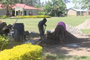 The Water Project: Epanja Secondary School -  Mixing Of Building Materials