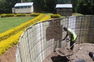 The Water Project: Epanja Secondary School -  Plastering Inside Tank