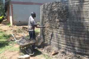The Water Project: Epanja Secondary School -  Plastering Outside Tank