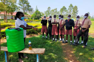 The Water Project: Epanja Secondary School -  Trainer Adelaide Teaching Hand Washing