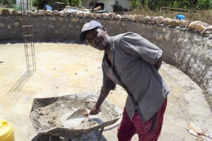 The Water Project: Kikumini Boys Secondary School -  Artisan Mixing The Cement For The Walls