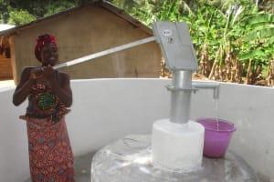 The Water Project: Kamasondo, Masome Village -  Woman Pumps The Well