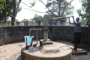 The Water Project: Lungi, Tintafor, Mother Teresa's Pre-Primary School -  Teacher Collecting Water