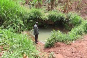 The Water Project: Kiryamasasa Community -  Open Water Source