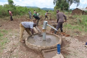 The Water Project: Nsamya Nusaff II Well -  Already Looking Better
