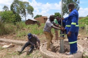 The Water Project: Nsamya Nusaff II Well -  Cylinder And Pedestal