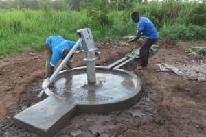 The Water Project: Nsamya Nusaff II Well -  Finishing Touches