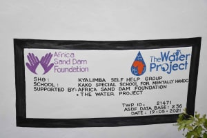 The Water Project: Kako Special School for the Mentally Handicapped -  Plaque