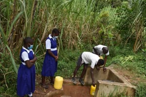 The Water Project: Shamberere Primary School -  Collecting Water At Spring