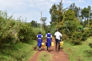 The Water Project: Shamberere Primary School -  Collecting Water