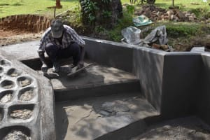 The Water Project: Luyeshe North Community, Reuben Endeche Spring -  Stairs Plastering