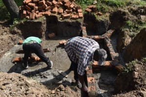 The Water Project: Luyeshe North Community, Reuben Endeche Spring -  Wall Construction