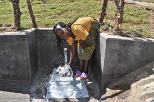 The Water Project: Luyeshe North Community, Reuben Endeche Spring -  Agnes Collecting Clean Water