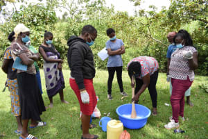 The Water Project: Luyeshe North Community, Reuben Endeche Spring -  Soap Making Exercise