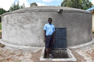 The Water Project: Kabinjari Primary School -  Alvine At Water Tank