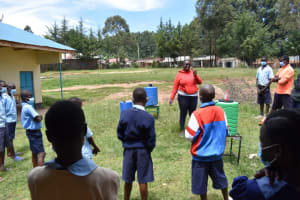 The Water Project: Kabinjari Primary School -  Demonstrating Dental Hygiene