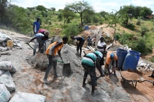 The Water Project: Kitile B Village Sand Dam -  Construction Zone