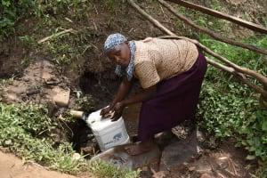 The Water Project: Mungakha Community, Mwilima Spring -  Elina Fetching Water