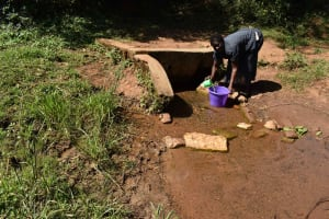 The Water Project: Muhoni Community, Kekongo Forest Spring -  Collecting Water