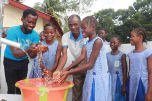 The Water Project: Shepherd Foundation, New Apostolic Church and Primary School -  Students Joyfully Splashing