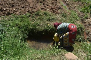 The Water Project: Muting'ong'o Community, Chivuyi Spring -  Jentrix Fetching Water
