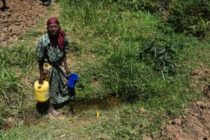 The Water Project: Muting'ong'o Community, Chivuyi Spring -  Jentrix Getting Water