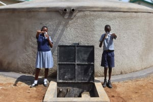 The Water Project: Ebukuya Special School for the Deaf -  Students Drinking