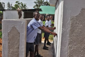 The Water Project: Ebukuya Special School for the Deaf -  Boys At Latrines