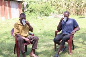 The Water Project: Nangurunya Community, Robert Musali Spring -  Enjoying A Glass Of Water