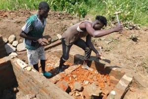 The Water Project: Nangurunya Community, Robert Musali Spring -  Stairs Consruction