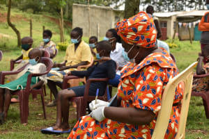 The Water Project: Nangurunya Community, Robert Musali Spring -  Taking Notes At Training