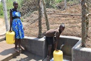 The Water Project: Nangurunya Community, Robert Musali Spring -  Community Fetching Water