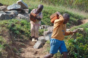 The Water Project: Shamoni Community, Shiundu Spring -  Gathering Materials