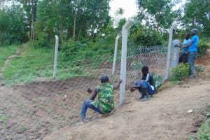 The Water Project: Shamoni Community, Shiundu Spring -  Fencing