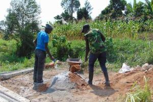 The Water Project: Shamoni Community, Laban Ang'ata Spring -  Mixing Cement