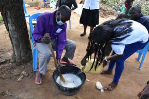The Water Project: Shamoni Community, Laban Ang'ata Spring -  Participant Helps