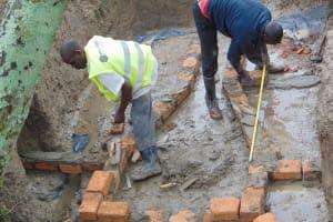 The Water Project: Lunyinya Community, Makunga Spring -  Brick Setting
