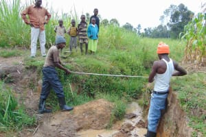 The Water Project: Makunga Community, Tabarachi Spring -  Foundation Measurement