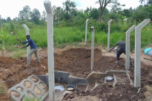 The Water Project: Makunga Community, Tabarachi Spring -  Backfilling Soil