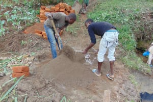 The Water Project: Malimali Community, Onyango Spring -  Mixing Cement