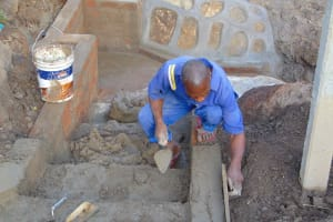 The Water Project: Malimali Community, Onyango Spring -  Plastering Stairs