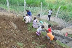 The Water Project: Malimali Community, Onyango Spring -  Kids Planting