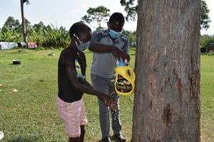 The Water Project: Malimali Community, Onyango Spring -  Leaky Tin Handwashing