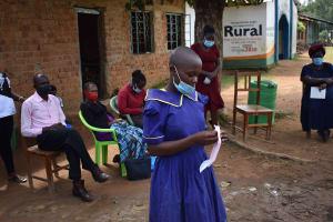 The Water Project: Namushiya Primary School -  Participant Using Sanitary Pad