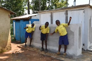 The Water Project: Namushiya Primary School -  Boys In Front Of Latrine