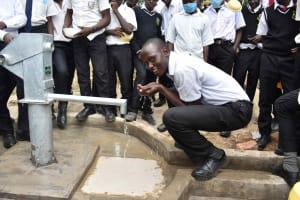 The Water Project: Shamberere Boys' High School -  Drinking From Borehole