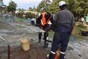 The Water Project: Bukhakunga Primary School -  Test Pumping